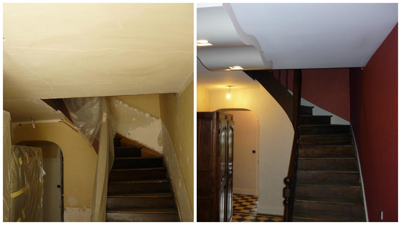 Cage d'escalier avant/après